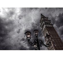 Bell tower and street lamp Photographic Print