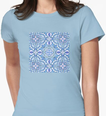 Cornflower Blue, Lilac & White Floral Pattern Womens Fitted T-Shirt