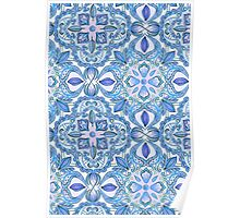 Cornflower Blue, Lilac & White Floral Pattern Poster