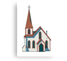 Old little white church building Canvas Print