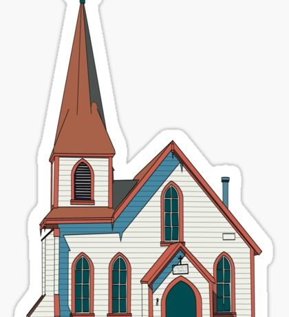Old little white church building Sticker