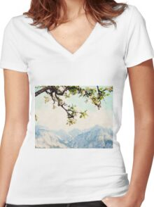 Apple Blossoms and Mountains  Women's Fitted V-Neck T-Shirt