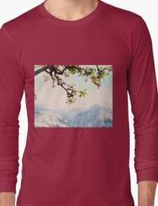 Apple Blossoms and Mountains  Long Sleeve T-Shirt