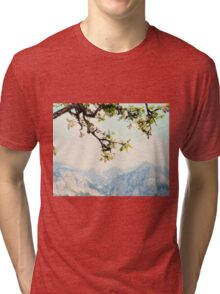 Apple Blossoms and Mountains  Tri-blend T-Shirt