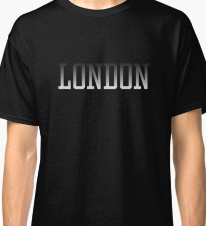 London White text on Black Fade to White Classic T-Shirt
