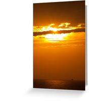 ein Schiff im Sonnenuntergang Greeting Card