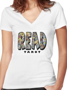 Be Well Read - READ TAROT Women's Fitted V-Neck T-Shirt