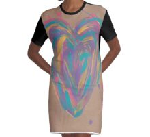 Painted Heart Graphic T-Shirt Dress