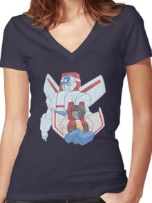 Transformers G1 - Starscream + Skyfire Women's Fitted V-Neck T-Shirt