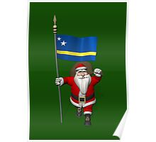 Santa Claus With Flag Of Curacao Poster