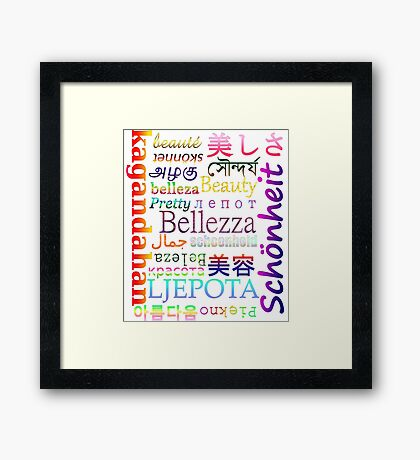 "Typography ""Beauty"" in 19 Languages Framed Print"