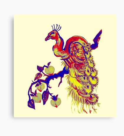 Peacock in a Peach Tree (Remix) Canvas Print