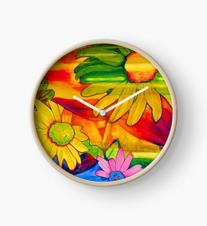 Psychedelic Daisies Clock