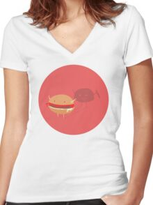 Fast fat food Women's Fitted V-Neck T-Shirt