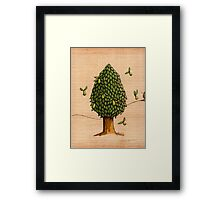 Wings on Pear Tree Coloured Framed Print