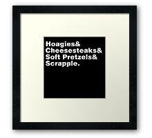 Philadelphia Foods Helvetica Framed Print