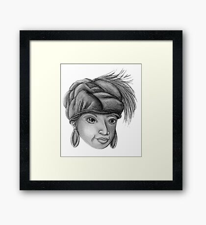 Gray-Scale Ethnic Woman  Framed Print