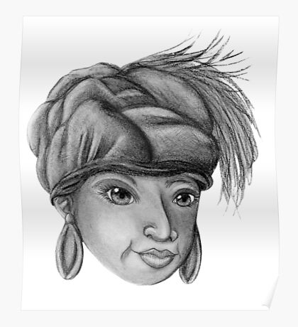 Gray-Scale Ethnic Woman  Poster