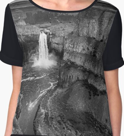 Palouse River Valley and Falls - Black and White Chiffon Top
