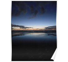 Ocean Sunset Moonrise Poster