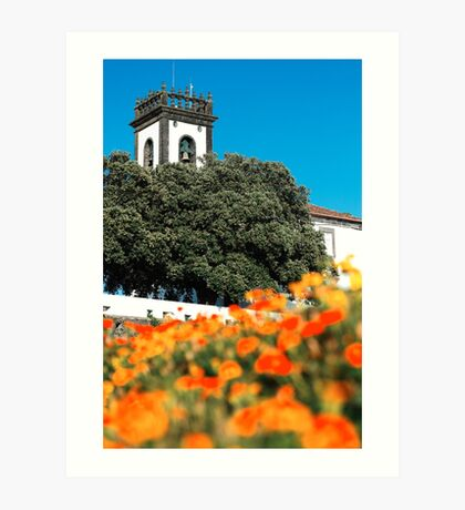 Tower and flowers Art Print
