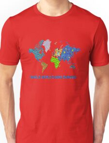 Whole World's Gone Bananas - World Map Sticker Art Unisex T-Shirt