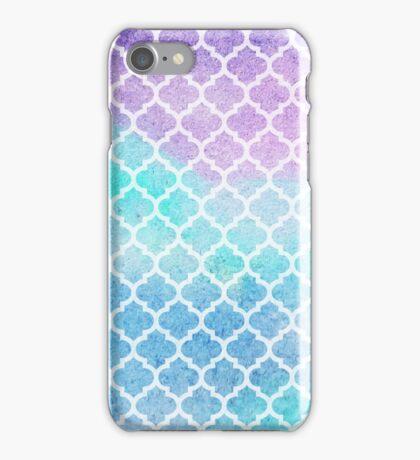 Faded gentle azure moroccan tiles iPhone Case/Skin