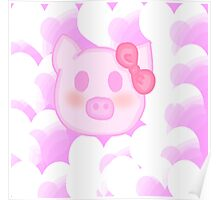 Kawaii pig with a bow  Poster