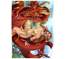 Red Dragon and Elf Warrior Poster