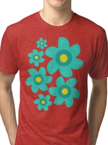 Turquoise Flower Tri-blend T-Shirt