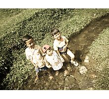 Three Kids Photographic Print