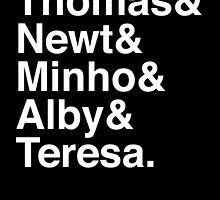 Thomas & Newt & Minho & Alby & Teresa. (inverse) by Samantha Weldon
