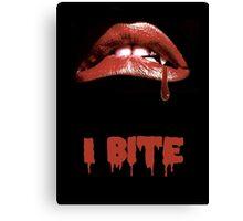 "Rocky Horror Style ""I Bite"" Vampire Mouth Canvas Print"