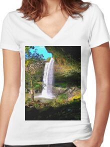 Under Noccalula Falls Women's Fitted V-Neck T-Shirt
