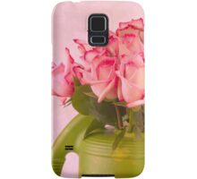 Pink Roses In Green Watering Can Samsung Galaxy Case/Skin