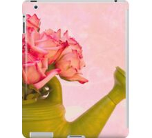 Pink Roses In Green Watering Can iPad Case/Skin