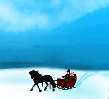 Winter Sleigh Ride Card by ChePanArt