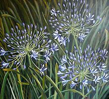 Blue agapanthus 2006 Acrylic on canvas by Elizabeth Moore Golding
