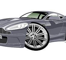 James Bond Aston Martin DBS V12 caricature by car2oonz