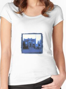 Small Town Post Office in Cyanotype Women's Fitted Scoop T-Shirt