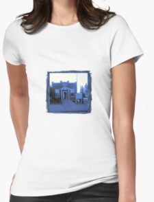 Small Town Post Office in Cyanotype Womens Fitted T-Shirt