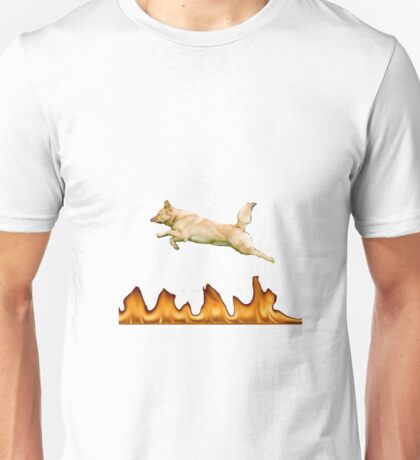 Dog Jumping Over Fire Unisex T-Shirt