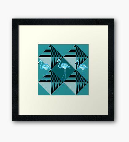 blue flamingo  Framed Print
