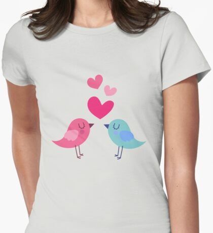 Love Bird Hearts Womens Fitted T-Shirt