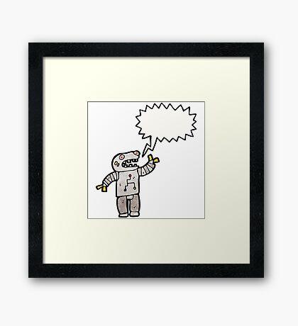 talking robot cartoon Framed Print