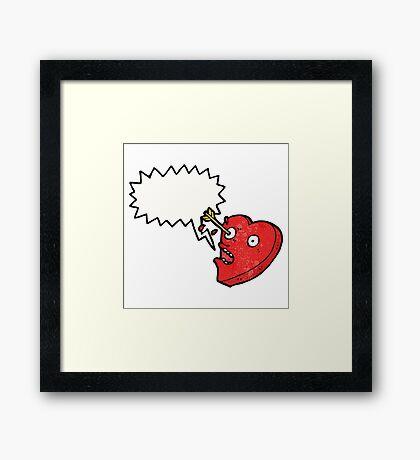 love struck heart cartoon character Framed Print