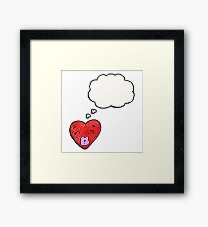 love heart cartoon character Framed Print