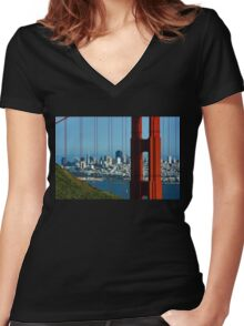 Iconic San Fransisco - Downtown Framed by Red Steel Women's Fitted V-Neck T-Shirt