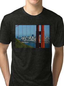 Iconic San Fransisco - Downtown Framed by Red Steel Tri-blend T-Shirt