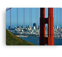 Iconic San Fransisco - Downtown Framed by Red Steel Canvas Print